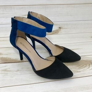 BCBGeneration Malabo Blue Black Suede Heels